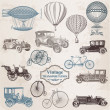 Vector Set: Vintage Transportation - collection of old-fashioned - Stok Vektr