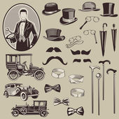 Gentlemen's Accessories and Old Cars - vector set- High Quality — Stock Vector