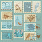 Retro Bird Postage Stamps - for design, invitation, scrapbook — Stok Vektör