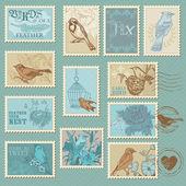 Retro kuş pulları - tasarım, davetiye, karalama defteri — Stok Vektör