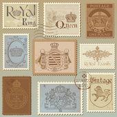 Set med vintage royalty frimärken - hög kvalitet - i vector — Stockvektor