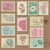 Retro Flower Postage Stamps - for wedding design, invitation — Stok Vektör
