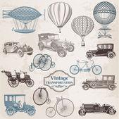 векторный набор: vintage транспорт - коллекция старого образца — Cтоковый вектор