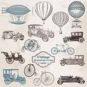 Vector Set: Vintage Transportation - collection of old-fashioned — ストックベクタ