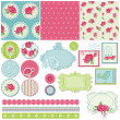 Scrapbook Design Elements - Rose Flowers in vector — 图库矢量图片