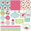 Scrapbook Design Elements - Rose Flowers in vector — Stock Vector