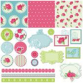 Scrapbook Design Elements - Rose Flowers in vector — Stock Vector