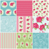 Set of Seamless Floral Rose backgrounds - in vector — Stock Vector