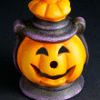 Halloween Lantern on Black Background — Stock Photo