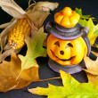 Halloween Lantern with Leafs and Corn — Stock Photo