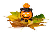 Halloween Lantern with Leafs — Stock Photo