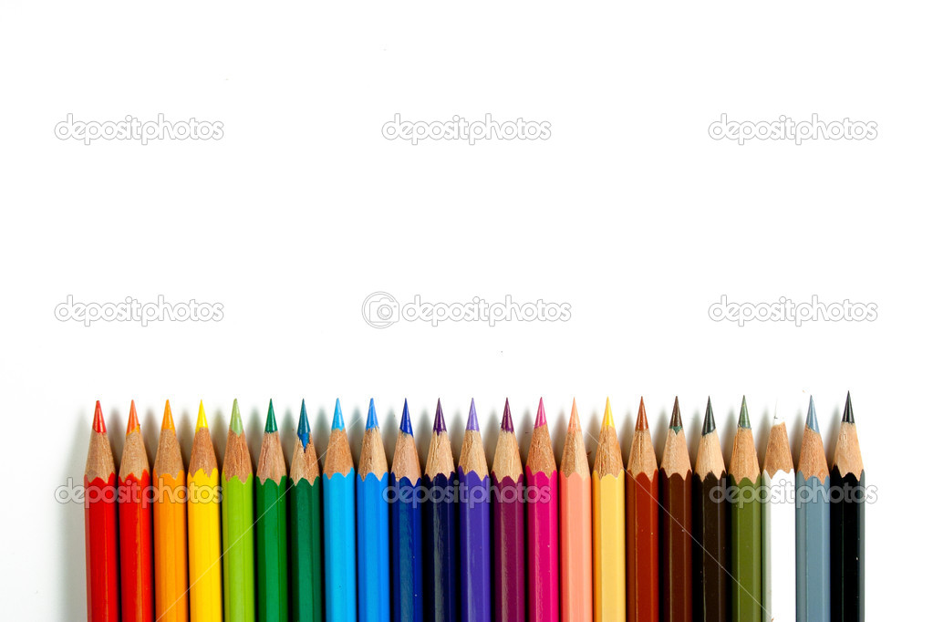 An assortment of color pencils on white background — Stock Photo #9231482