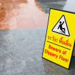 Beware of slippery floors. - Stock Photo