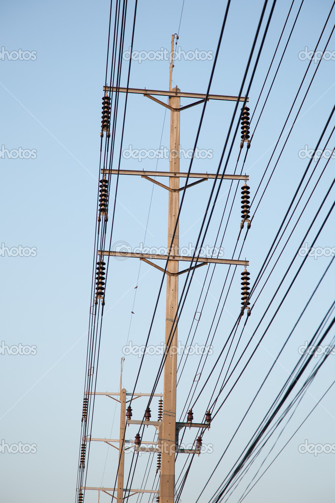 Poles are resistant to high voltage power supply to the accommodation. — Stock Photo #9552843