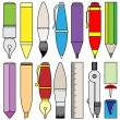 Writing drawing and painting tools and accessory — Stock Vector