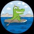 Smiling crocodile traveling in sea sitting on log — Stock Vector