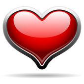 Glossy heart badge in metal frame — Stock Vector
