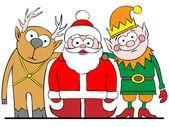Santa y amigos — Vector de stock