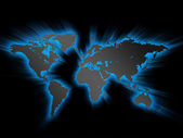 Gloeiende wereldkaart — Stockfoto