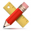 Pencil ruler icon — Stock Photo