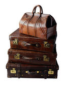 Vintage leather suitcases — Stock Photo