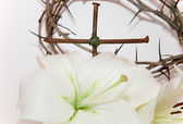 Crown of Thorns, crucifix and Easter white Lily — Stock Photo