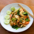 Thai noodle with seafood - Stock Photo