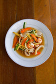 Fry vegetables with seafood — Photo
