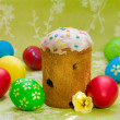 Easter cake  and colored easter eggs - Photo