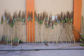 Old wooden brooms — Stock Photo
