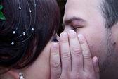 Happy couple kissing outdoors — Stock Photo