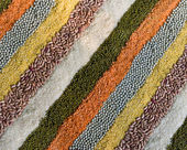 Colorful striped rows of dry beans, legumes, peas — Foto Stock