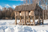 Barn in the winter forest — Stock Photo