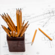 Broken pencil drawing on the background — Stock Photo