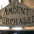 Amount purchased sign on cash register - Stock Photo