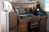 Antique roll top desk with drawers — Stock Photo