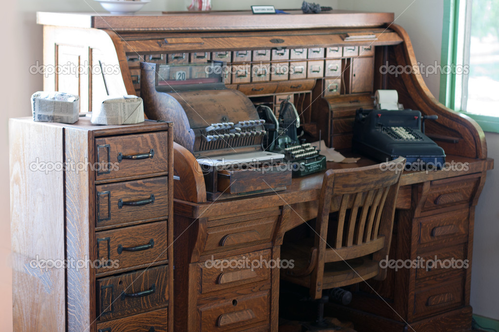 antique roll top desk with drawers stock photo gunternezhoda 10477615. Black Bedroom Furniture Sets. Home Design Ideas
