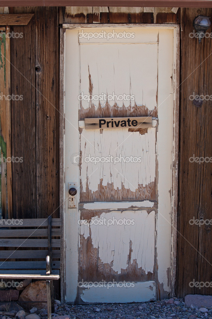 Old door on barn with private sign  Stock Photo #10477683