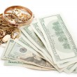 Stock Photo: Gold and silver pile scrap and cash dollar