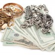 Gold and silver pile scrap and cash dollar — Foto Stock