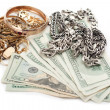 Gold and silver pile scrap and cash dollar — Stockfoto