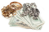 Gold and silver pile scrap and cash dollar — Stock Photo