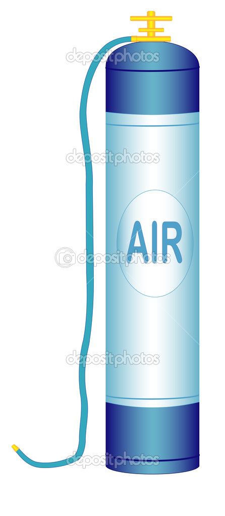 Illustration of an oxygen cylinder with a hose on a white background — Stock Vector #10470254
