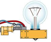 Lámpara eléctrica sobre un soporte — Vector de stock