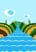 Nehir ile doğal arka plan — Stok Vektör