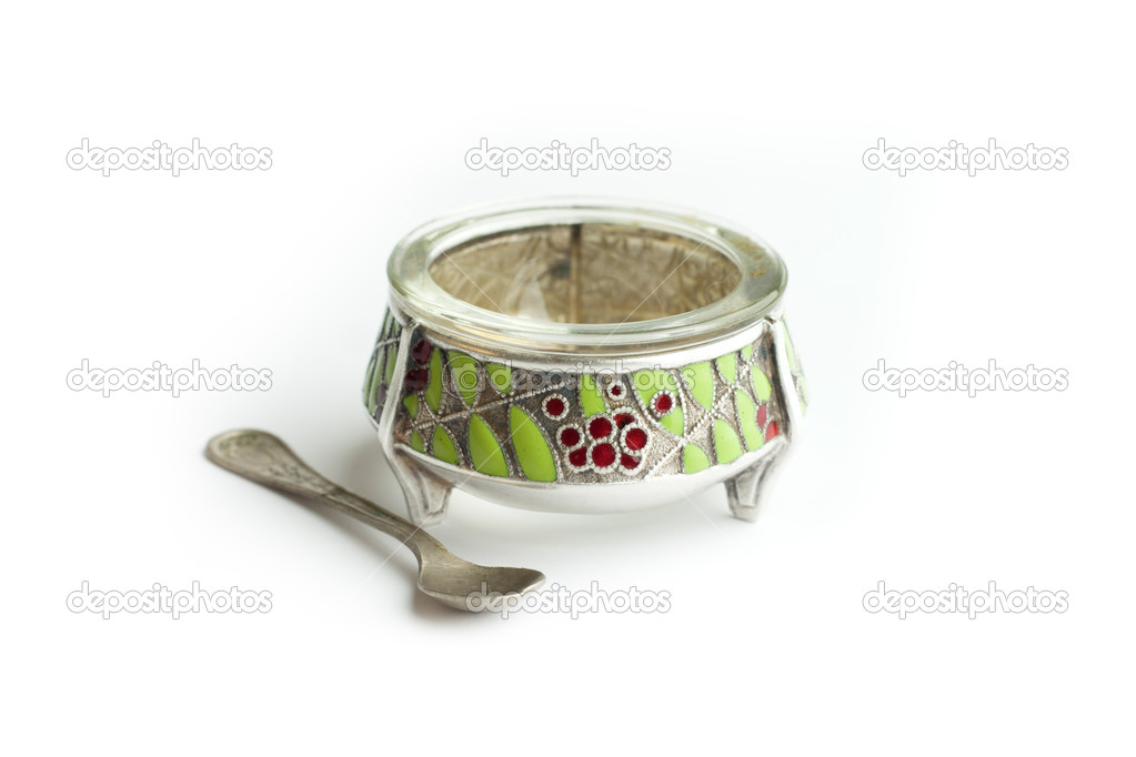 Silver saltcellar antiques with spoon — Stock Photo #10673968