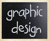 """Graphic design"" handwritten with white chalk on a blackboard — ストック写真"