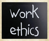 """Work Ethics"" handwritten with white chalk on a blackboard — Stockfoto"