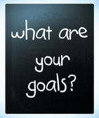 """What are your goals?"" handwritten with white chalk on a blackbo — Stock Photo"