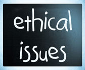 """Ethical issues"" handwritten with white chalk on a blackboard — Stock Photo"